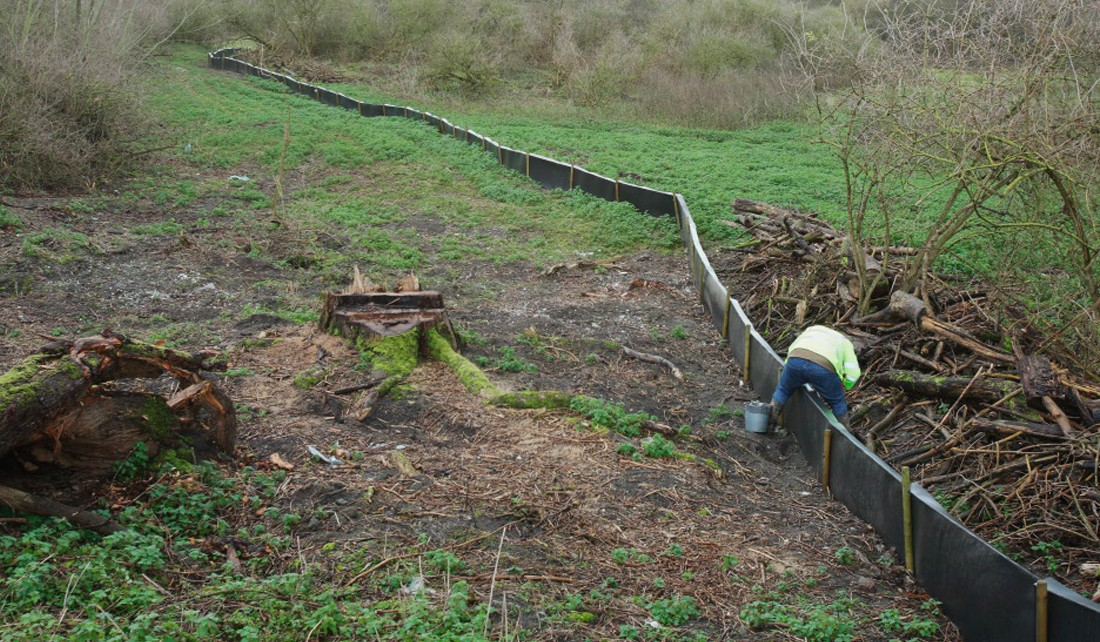 Newt fencing installation at Burham for South East Water
