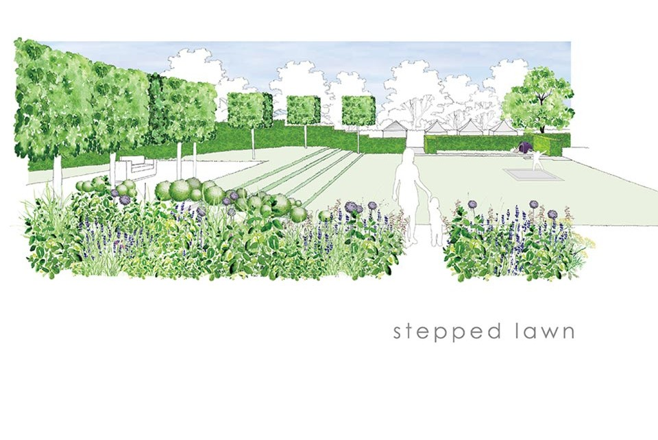 Stepped Lawn concept drawing - landscape design and build by Twig Group