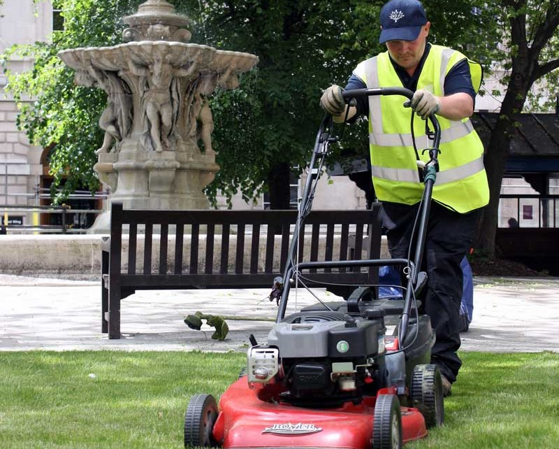 Mowing - Grounds maintenance at St Barts Hospital, London