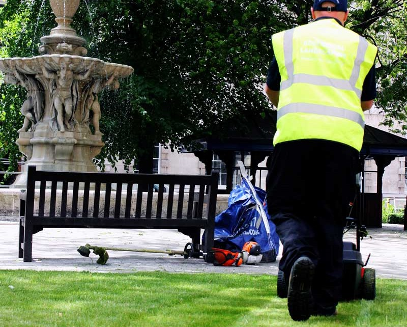 Lawn mowing - Grounds maintenance at St Barts Hospital, London