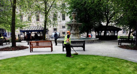 Strimming - Grounds maintenance at St Barts Hospital, London