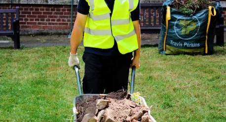 Wheelbarrow - Grounds maintenance at St Barts Hospital, London
