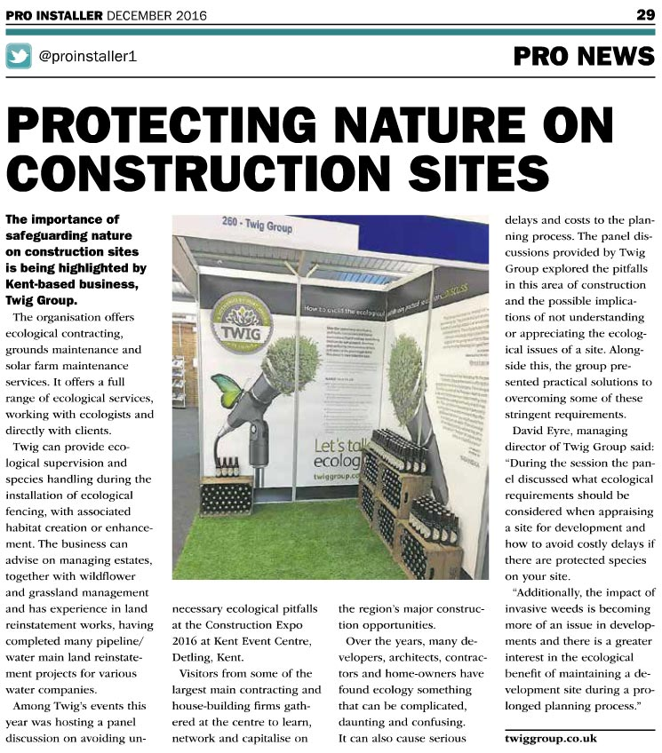"Pro News article ""Protecting Nature on Construction Sites"""